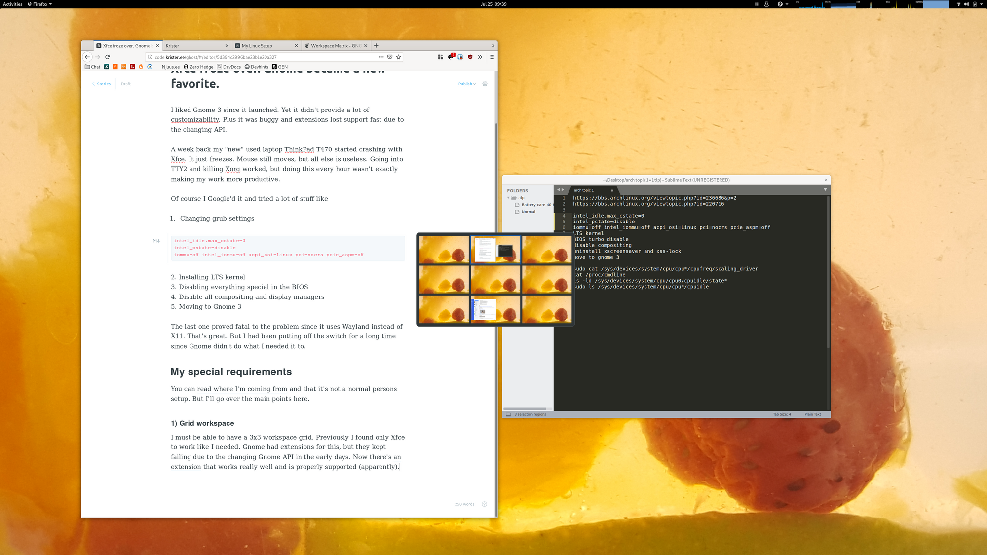 Xfce froze over  Gnome became a new favorite